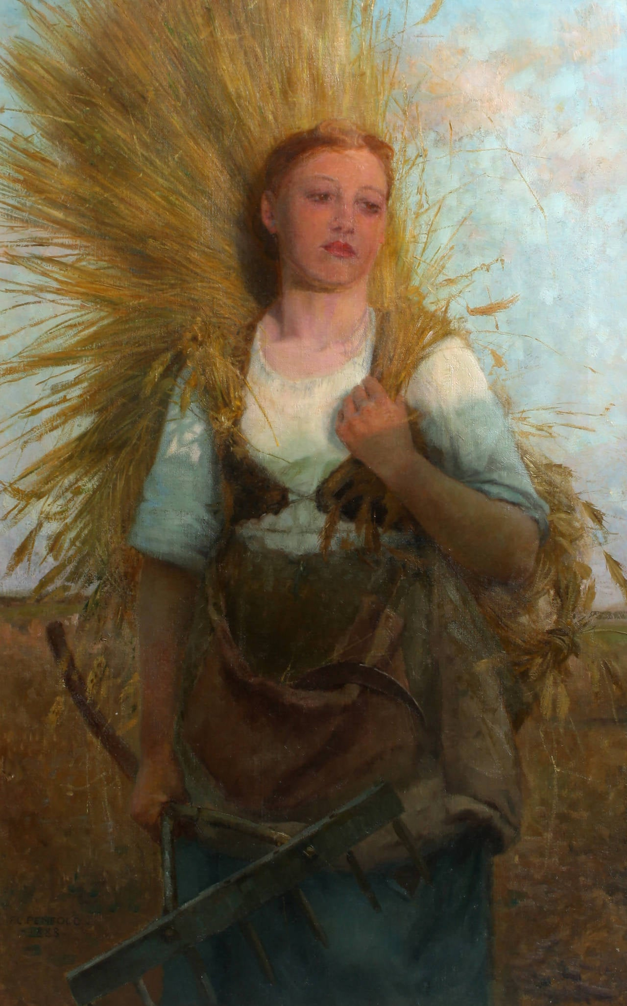 Breton Woman with Wheat on her back