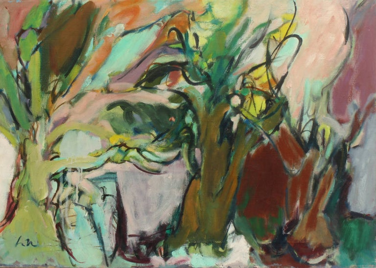 Harriet Holden Nash Abstract Painting - Trees Park Slope