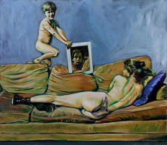 Woman on Couch with Boy