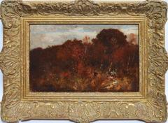 Hudson River School Fall Landscape with Figure by Robert Swain Gifford