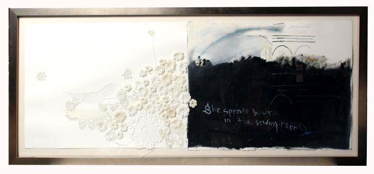 Mixed media black and white abstract expressionist painting lace text feminist - Painting by Dorothy Fitzgerald