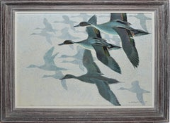 Pintail Ducks in Flight, Modernist Painting by Keith Shackleton