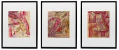 Triptych of Paintings on Newspaper