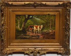 Hudson River School Fall Forest View with Cows