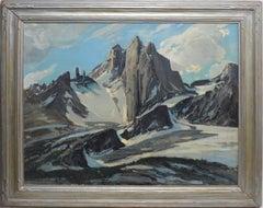 Antique Western Impressionist Winter Mountain Landscape by Fred William Becker