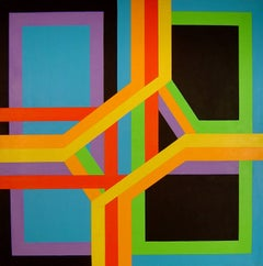 Mid Century Hard Edge Abstraction James Koenig Ribbon Structure 1971