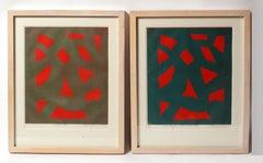 Toma Yovanovich Pair Woodblock Prints Framed 1960 Abstract Midcentury Geometric