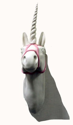 Hand Formed Contemporary Porcelain Unicorn Wall Sculpture Bethany Krull 2018
