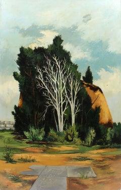 1940 Modernist Figurative Landscape Painting American Hopscotch Surreal