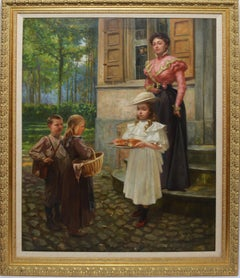 """Antique Paris Impressionist School Oil Painting, """"The Country Bakers"""""""