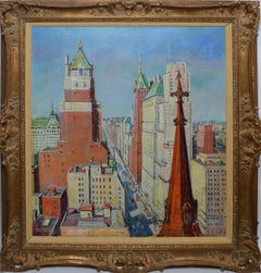 American Impressionist Oil Painting Of New York City by Russell Patterson