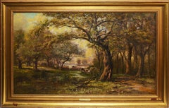19th Century Impressionist Forest View with Cows
