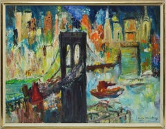 American School, Mid Century Modern Oil Painting of the Brooklyn Bridge