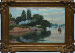 American School, Antique Impressionist Double Sided River Oil Painting