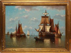 19th Century Belgian Sailboat Seascape Oil Painting by Auguste Musin