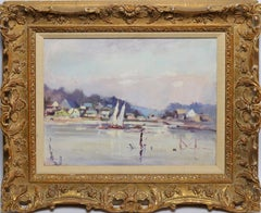 Antique American Impressionist Harbor View with Boats by Arnold Turtle