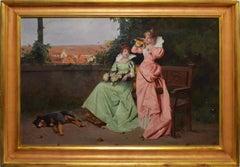 19th Century Signed Antique Paris School Genre Portrait Painting with a Dog