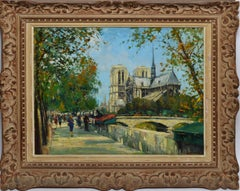 Early 1900's Antique French Impressionist View of Notre Dame Paris, Jean Salabet