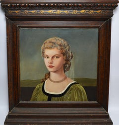 Early American Modernism, Realist Oil Painting Portrait of a Young Woman