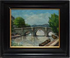 Antique Signed French Impressionist Paris Oil Painting, View of the Seine