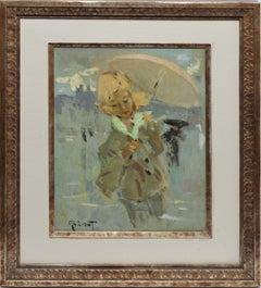 "Paris School Impressionist Cityscape, ""Rainy Day with Parasol"", by Pierre Grisot"