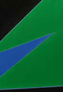 Minimalist Painting New York American Artist Female Blue Black Green 1974