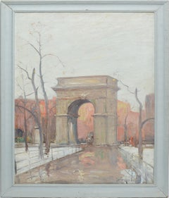 Winter in Washington Square Park, New York Cityscape Painting by Bela DeTirefort