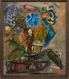 New York School Abstract Expressionist Flower Still Life Painting, William Scher