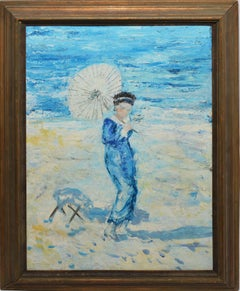 American Impressionist Antique Oil Painting Figure on a Beach with Parasol