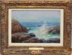 Antique Impressionist Oil Painting of A New England Coast by William Brundage