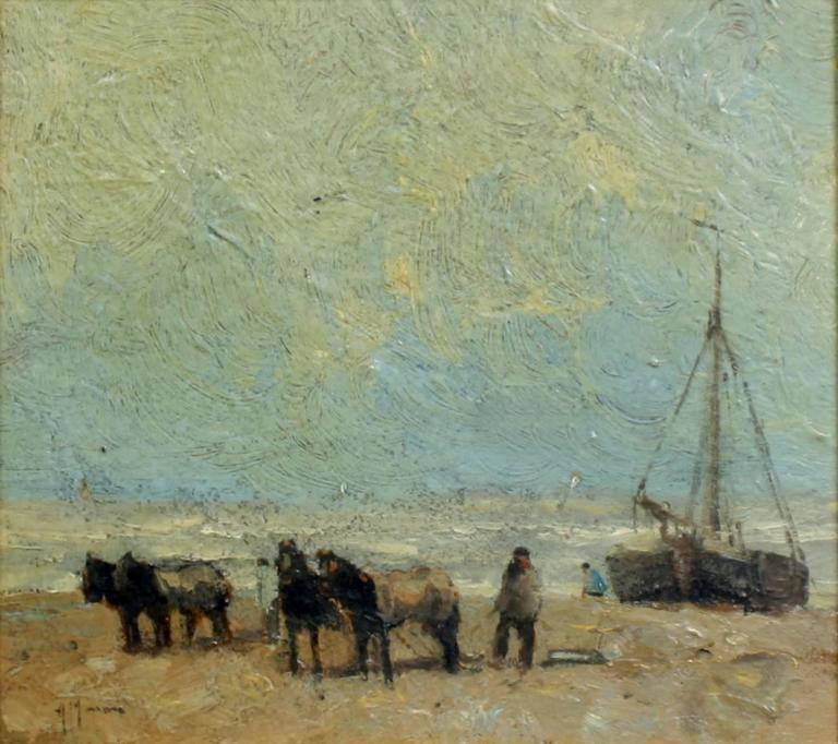 Beach Landscape With Fishermen: Fishing Boats On The Beach For Sale At 1stdibs