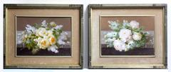 Pair of Floral Still Life Paintings (White and Yellow Roses)