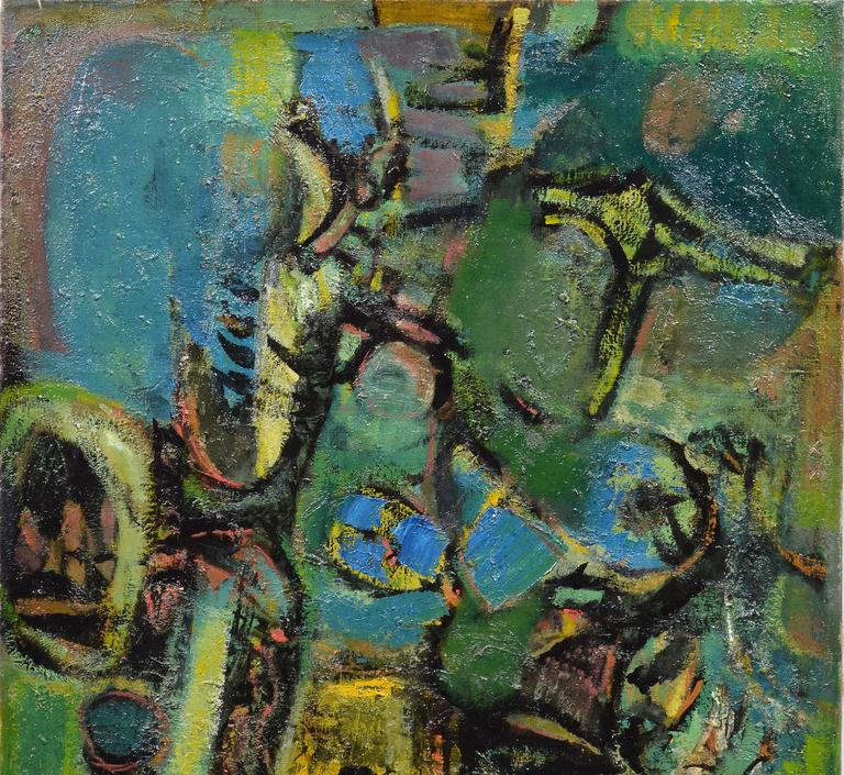 An oil on canvas by listed American modernist Ben Wilson (1913-2001).  Finely painted composition with rich colors and thick impasto.  Signed verso Ben Wilson.  Image size, 22