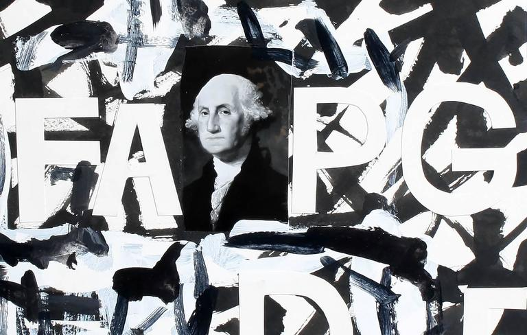 George Washington with Letters - Mixed Media Art by Richard Huntington