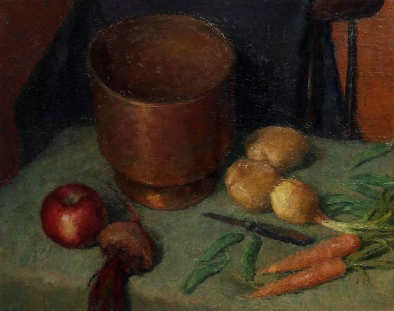 Unknown still life with apple onion potato and carrots painting for sale at 1stdibs - Unknown uses for an onion ...