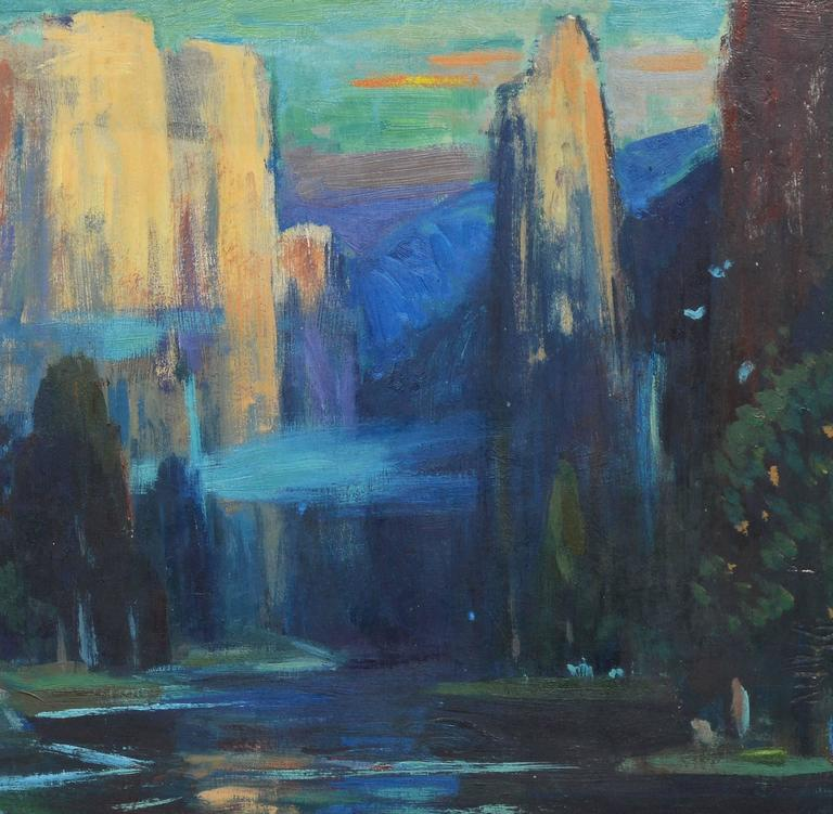 An impressionist oil painting by Eliot Clark (1883-1980).  Oil on board, circa 1940.  Displayed in a period impressionist frame.  Image size, 18