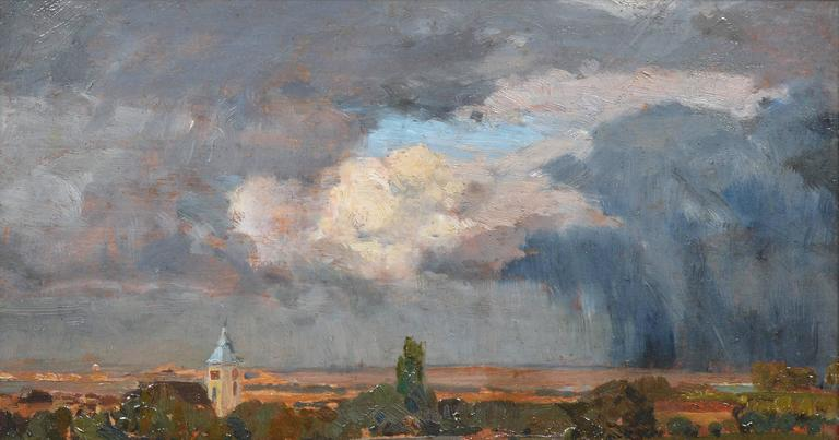 Austrian City View - Brown Landscape Painting by TIna Regina-Leopoldine Blau