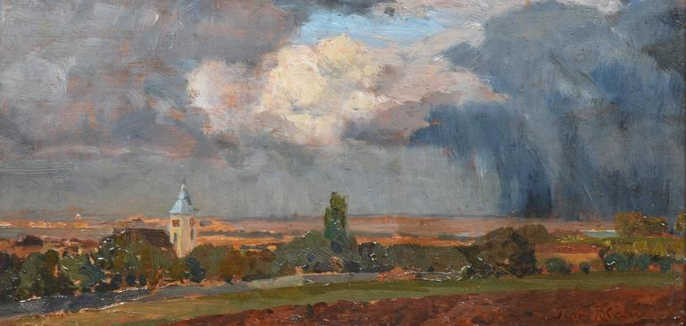An impressionist style landscape by Tina Blau (1845-1916).  Oil on board, with a landscape verso.  Signed lower right.  Image size, 10.75