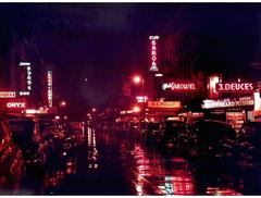 Automobiles Parked on a Rainy Night on 52nd Street, New York City