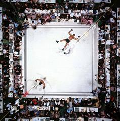 Aerial view of Muhammad Ali victorious after round 3 knockout