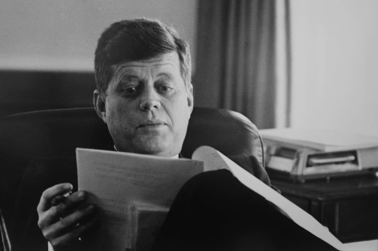 Jacques Lowe Portrait Photograph - President JFK in the Oval Office