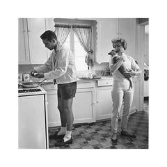 Paul Newman and Joanne Woodward in the Kitchen of their Beverly Hills Home