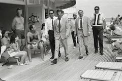 Frank Sinatra with his Stand-in and Bodyguards Arriving on Location, Miami Beach