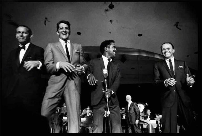 "Art Shay Black and White Photograph - Frank Sinatra, ""The Rat Pack"", Las Vegas"