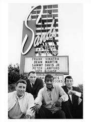 Peter Lawford, Frank Sinatra, Sammy Davis Jr & Dean Martin in front of the Sands