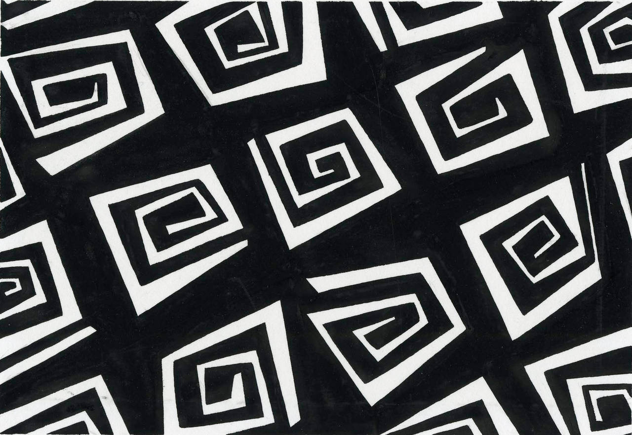 Lizzie derriey fabric design black and white at 1stdibs for Fabric designs