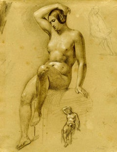 Study of a Seated Woman and Two Smaller Studies of the Same