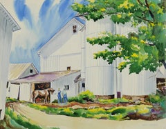 untitled (The White Barn with Farmers and Horse)
