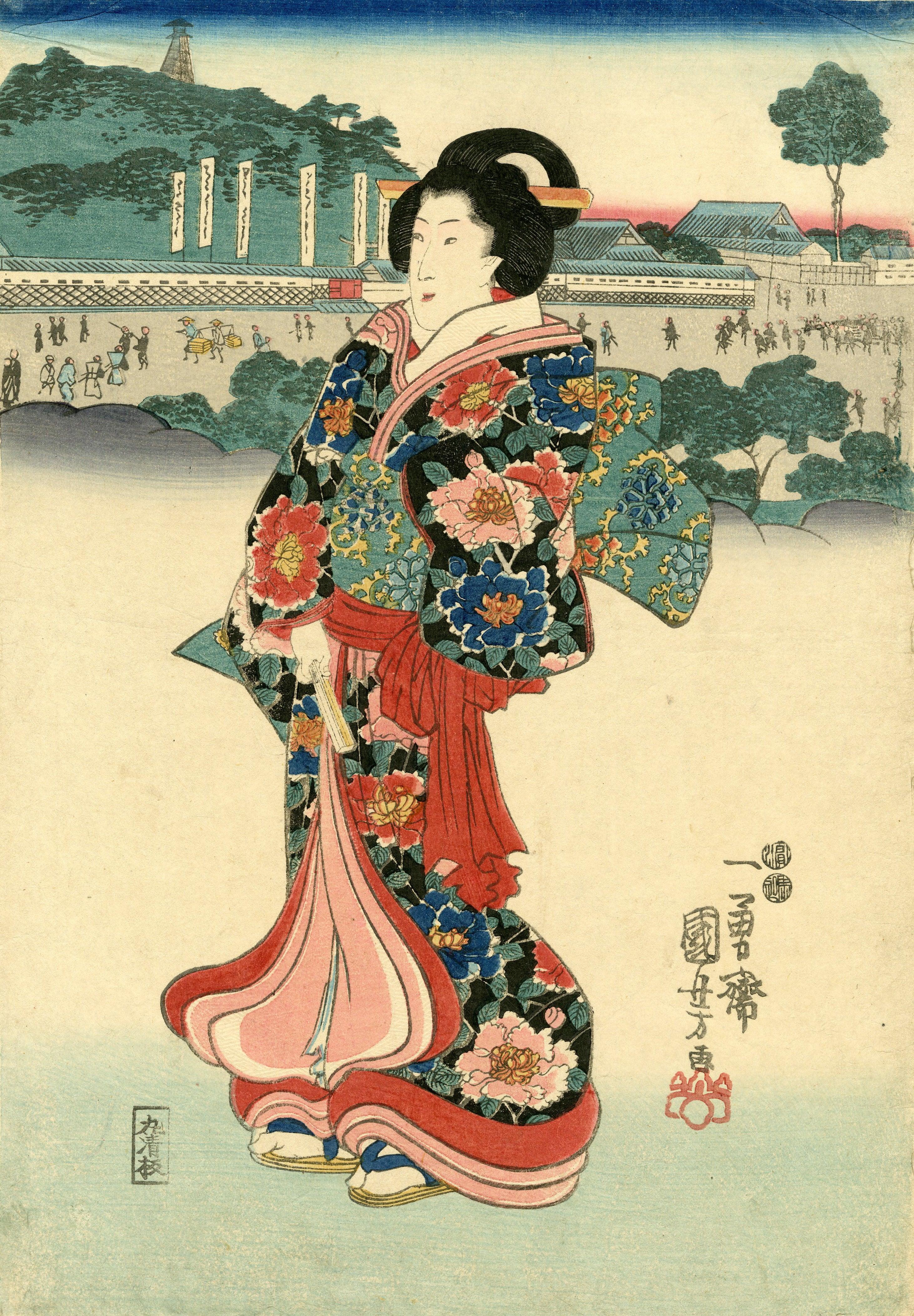 Utagawa Kuniyoshi - Geisha strolling near Hongo (Tokyo), Print For ...