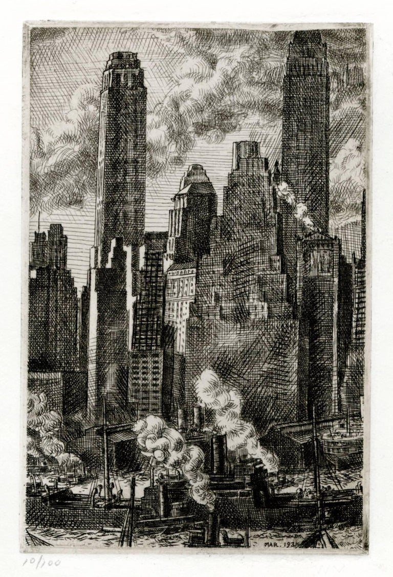Reginald Marsh Landscape Print - Wall Street